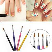 4Pcs Nail Art Salon Polish UV Gel Design Drawing Painting Brush Pen Tools Set