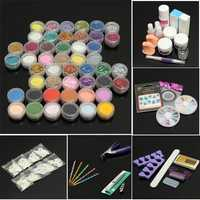 48 Pro Acrylic Glitter Powder Nail Art Gel Brush Tips Kit Set