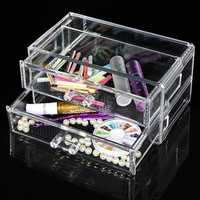 Double Layer Acrylic Clear Cosmetic Container Makeup Storage Organizer