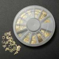 3D Nail Art Gold Metal DIY Sticker Design Wheel