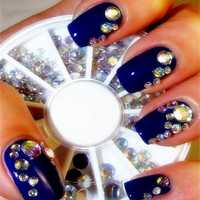 5 Sizes White Multicolor Acrylic Rhinestone Nail Decoration Wheel