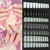 100Pcs Acrylic Black White Clear French Half Full Fake Nail Art Tips Polish Display