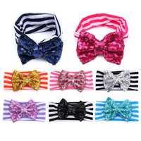 Cotton Stripe Sequins Adorable Baby Girls Headbrand Hair Accessories Hoops Hair Band