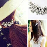 Flower Alloy Hair Accessory Barrette Rhinestone Crystal Hair Clip