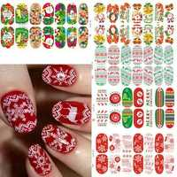 3D Christmas Elk Snowflake Luminous Nail Full Stickers