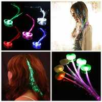LED Hair Extension Party Clip Pony Tail Fiber Optic Light Up