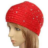Adjustable Rhinestone Knit Crochet Ear Warmer Headband Hairband