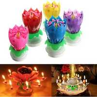 Lovely Musical Lotus Flower Rotating Happy Birthday Party Gift Candle Lights