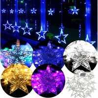 168 LED Flashing Star String Fairy Lights Wedding Curtain Light 220V 5 Modes