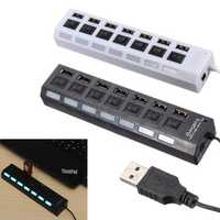 7 Ports USB 2.0 External HUB Adapte with Power On/Off Switch