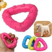 Pet Dog Puppy Rubber Triangle Dental Teeth Cleaning Chew Play Toy