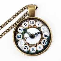 Vintage Bronze Glass Cabochon US UK Flag Watch Pendant Necklace