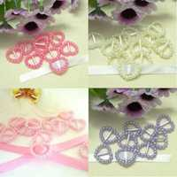25Pcs Multicolor Pearl Heart Ribbon Buckles Sliders Craft