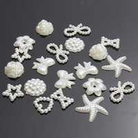 50Pcs Flat Back White Bow Flower Heart Pearl DIY Craft Phone Decoration