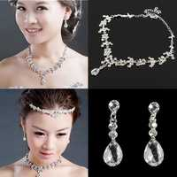Silver Plated Crystal Necklacee Earrings Bridal Jewelry Set Wedding