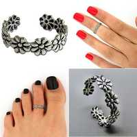 Silver Plated Daisy Flower Toe Ring Finger Tip Ring Adjustable