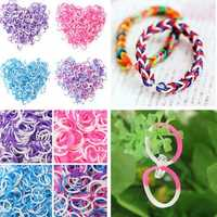 600Pcs Fragrant Double Color Loom Rubber Bands With Cilps DIY Bracelet