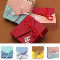 Mixed Color Ribbon Bowknot Square Cardboard Bracelet Jewelry Box Case