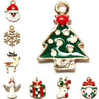 5Pcs Gold Plated Multi Patterns Christmas Charms Pendants DIY Jewelry