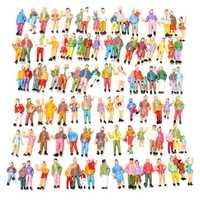 100pcs Mixed Painted Model Trains People Passengers Figures