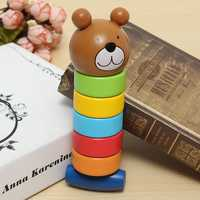 2 In 1 Wood Bear Striking Tower Children Education Creative Toy Multicolor