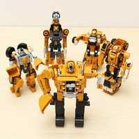 Metal Truck Hercules 5 In 1 Combination Robot Excavator Crane Vehicle Transformable Toys