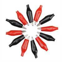 DANIU 12Pcs Red Black Insulation Boot Metal Alligator Clips