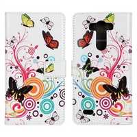 Fashion Butterfly Flower Print PU Protective Leather for LG G3