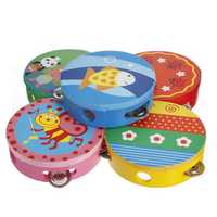Cartoon Pattern kid Shaking Handbell Tambourine Rattles Wooden Drum