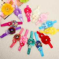 Kid Girl Baby Flower Jewels Chiffon Headbrand Bownot Hair Accessory
