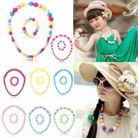 Kid Girl Cute Candy Color Beaded Necklace Bracelet Jewellery Sets