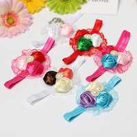 Baby Girl Three Rose Flower Rhinestone Headbrand Hair Band Accessories
