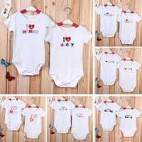 Baby Infant Newborn Cotton Love Mom Dad Romper Clothes Jumpsuit
