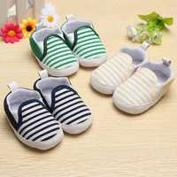 Toddler Baby Infant Naval Stripe Walkers Soft Soles Crib Shoes