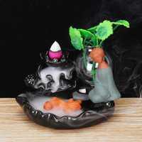 Sand Small Monk Backflow Incense Ceramic Incense Burner Holder w/ 10 Smoke Cones