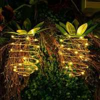 2pcs Solar Powered 25 LED Pineapple Lights Hanging Fairy String Waterproof for Outdoor Garden Decor