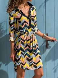 Women Buttons Turn-Down Collar Stripe Long Shirt Dress