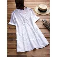 Women V-neck Short Sleeves Cotton Blouse