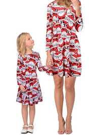 Women Christmas Snowman Print Parent-child Dress