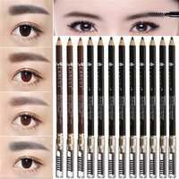 12pcs Eyebrow Pencil Pen with Brush Sharpener Makeup Black Brown Cosmetic
