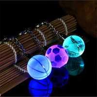Crystal Ball LED Keychain Creative Mental Football Pendant