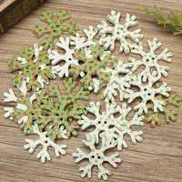 20pcs Wooden Christmas Snowflake Buttons DIY Sewing Baby Dress Clothes Decorative Button