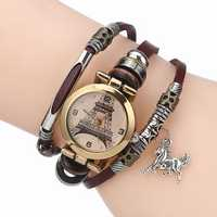 Gold Eiffel Tower Pattern Bracelet Women Quartz Watch