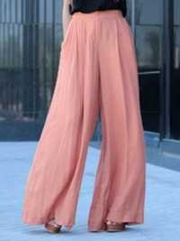 Women High Waist Solid Color Chiffon Wide Leg Pants