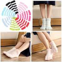 Women Girl Five Finger Over Knee Coral Fleece Soft Leg Fluffy Towel Hosiery Stocking