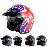 Motorcycle Scooter Summer Half Face Retro Helmet For Harley With Anti-UV Goggles
