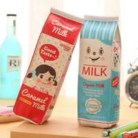 PU Waterproof Milk Box Pencil Pen Case Roll Cosmetic Pouch Pocket Holder Makeup Bag