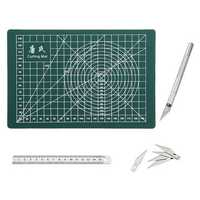 Drillpro A5 PVC Rectangle Grid Line Cutting Mat Stainless Metric Ruler 6pcs Blades Wood Carving Tool