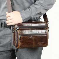 Men Genuine Leather Business Crossbody Bag Shoulder Bag