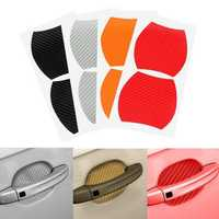 4Pcs Universal Carbon Fiber Car Side Door Handle Guard Stickers Scratch Paint Protective Films